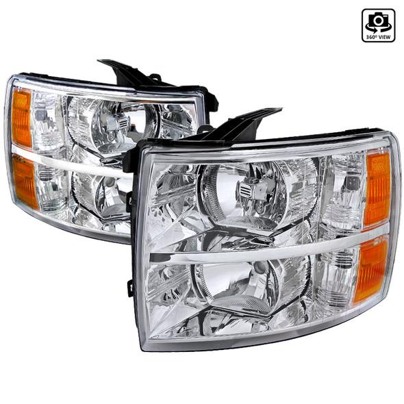 2007-2013 Chevrolet Silverado 1500/ 2007-2014 Silverado 2500HD 3500HD Factory Style Headlights (Chrome Housing/Clear Lens)