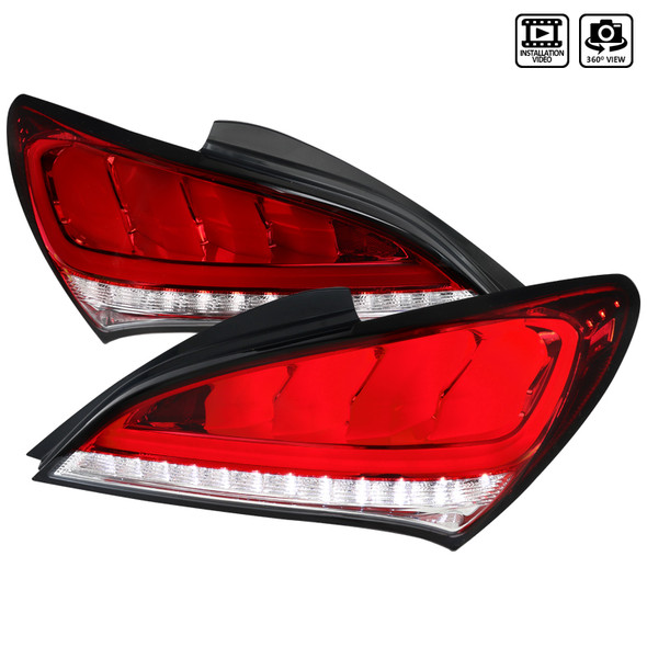 2010-2016 Hyundai Genesis Coupe White Bar Sequential LED Tail Lights (Chrome Housing/Red Lens)