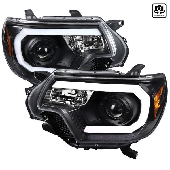 2012-2015 Toyota Tacoma LED C-Bar Projector Headlights (Matte Black Housing/Clear Lens)