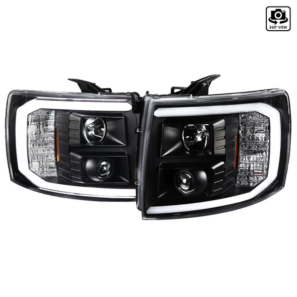 2007-2014 Chevrolet Silverado 1500/2500HD/3500HD LED C-Bar Projector Headlights (Matte Black Housing/Clear Lens)