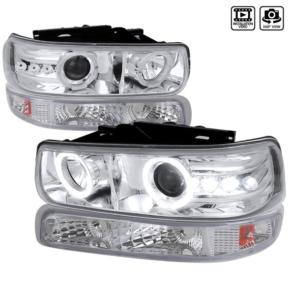 1999-2002 Chevrolet Silverado/ 2000-2006 Tahoe Suburban Dual Halo Projector Headlights w/ Bumper Lights (Chrome Housing/Clear Lens)