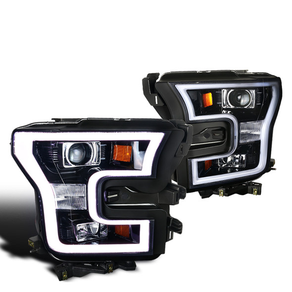 2015-2017 Ford F-150 LED Bar Outline Projector Headlights (Glossy Black Housing/Smoke Lens)
