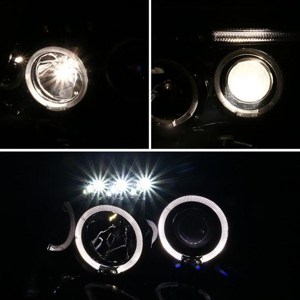 1999-2004 Jeep Grand Cherokee Dual Halo Projector Headlights w/ LED DRL & H1 Bulbs (Jet Black Housing/Clear Lens)