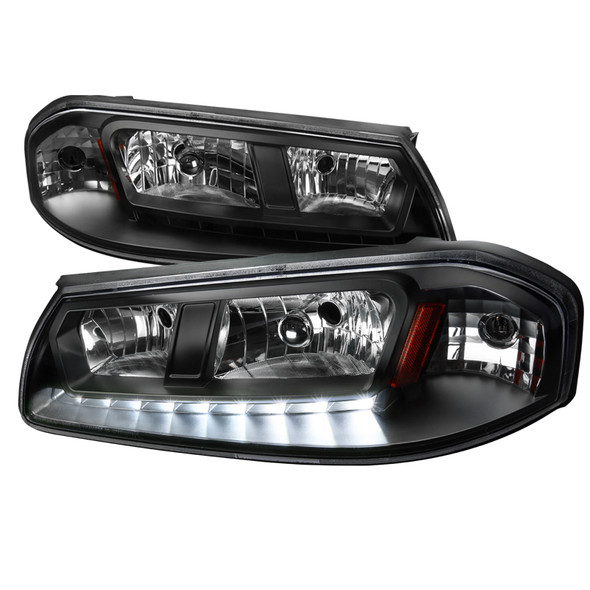 2000-2005 Chevrolet Impala Crystal Headlights w/ SMD LED Light Strip (Matte Black Housing/Clear Lens)