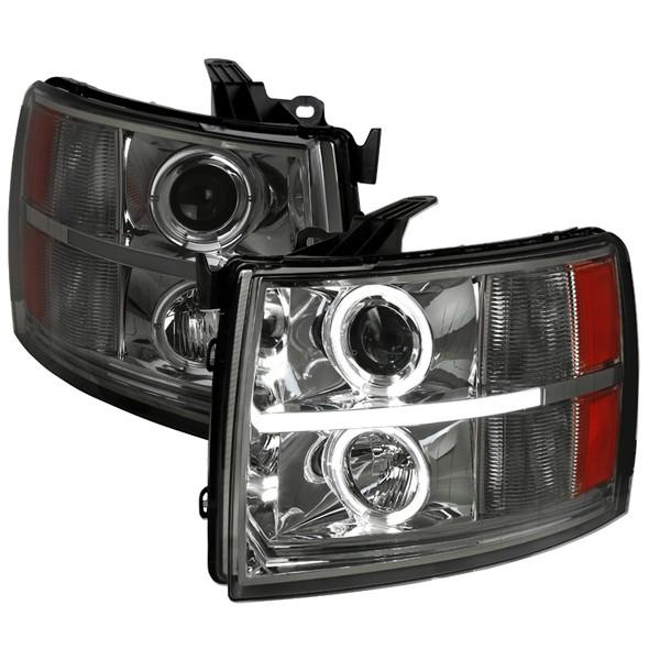 2007-2013 Chevrolet Silverado 1500/ 2007-2014 Silverado 2500HD 3500HD Dual Halo Projector Headlights w/ LED Light Bar (Chrome Housing/Smoke Lens)