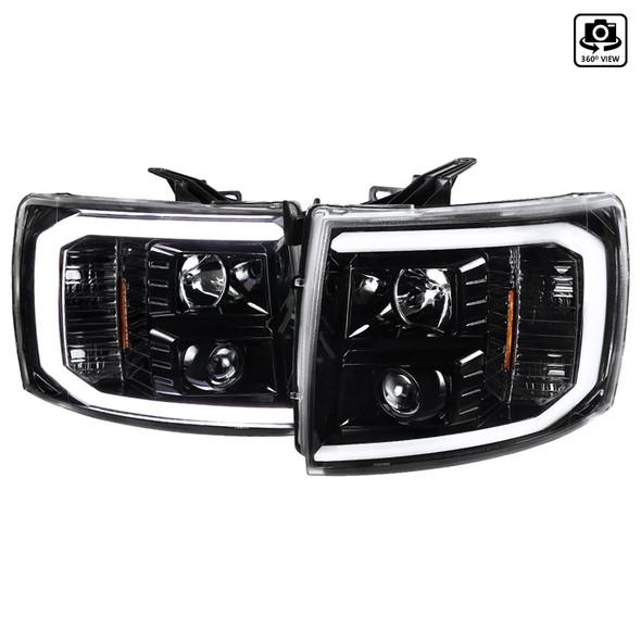 2007-2014 Chevrolet Silverado 1500/2500HD/3500HD LED C-Bar Projector Headlights (Jet Black Housing/Clear Lens)