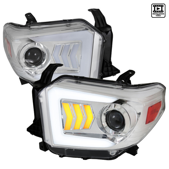 2014-2020 Toyota Tundra LED C-Bar Projector Headlights w/ Sequential Arrow Turn Signals (Chrome Housing/Clear Lens)