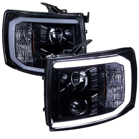 2007-2013 Chevrolet Silverado 1500/ 2007-2014 Silverado 2500HD 3500HD  LED C-Bar Projector Headlights (Glossy Black Housing/Smoke Lens)
