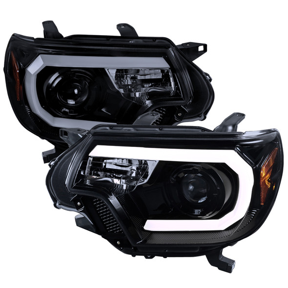 2012-2015 Toyota Tacoma LED C-Bar Projector Headlights (Glossy Black Housing/Smoke Lens)