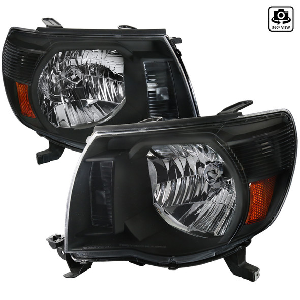 2005-2011 Toyota Tacoma Factory Style Headlights (Matte Black Housing/Clear Lens)