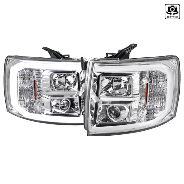 2007-2013 Chevrolet Silverado 1500/ 2007-2014 Silverado 2500HD 3500HD LED C-Bar Projector Headlights (Chrome Housing/Clear Lens)