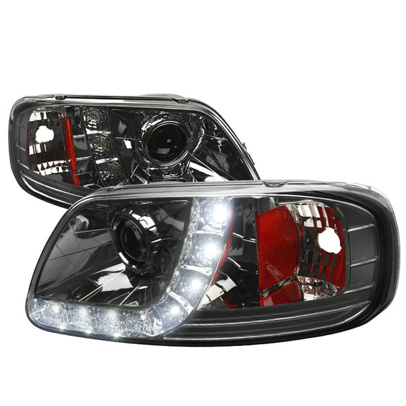 1997-2004 Ford F-150/ 1997-2002 Expedition Projector Headlights w/ SMD LED Light Strip (Chrome Housing/Smoke Lens)