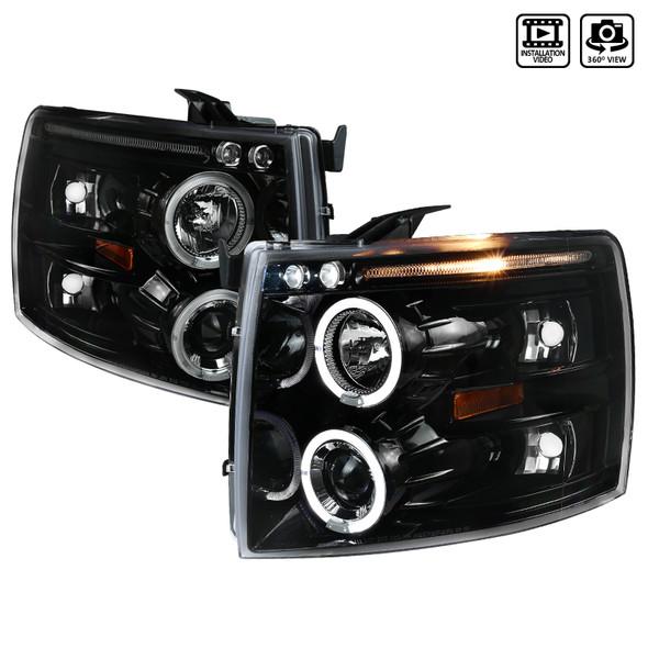 2007-2013 Chevrolet Silverado 1500/ 2007-2014 Silverado 2500HD 3500HD Dual Halo Projector Headlights (Jet Black Housing/Clear Lens)