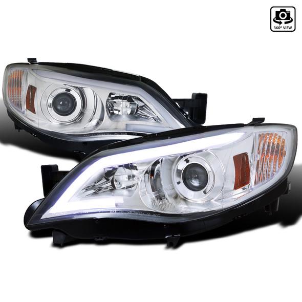 2008-2014 Subaru Impreza WRX/Outback LED Bar Projector Headlights (Chrome Housing/Clear Lens)