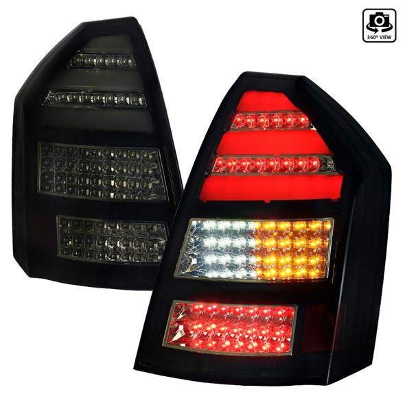 2005-2007 Chrysler 300C LED Tail Lights (Glossy Black Housing/Smoke Lens)