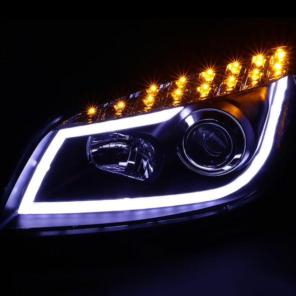 2008-2012 Chevrolet Malibu LS/LT/LTZ/Hybrid Projector Headlights w/ LED DRL(Matte Black Housing/Clear Lens)