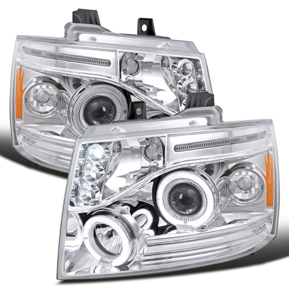 2007-2014 Chevrolet Avalanche LED Halo Projector Headlights (Chrome Housing/Clear Lens)