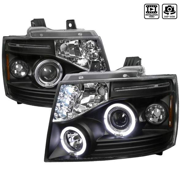 2007-2013 Chevrolet Avalanche/ 2007-2014 Tahoe Suburban Dual Halo Projector Headlights (Matte Black Housing/Clear Lens)
