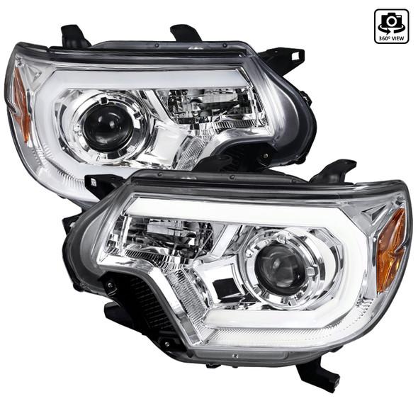2012-2015 Toyota Tacoma LED C-Bar Projector Headlights (Chrome Housing/Clear Lens)