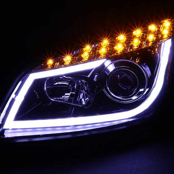 2008-2012 Chevrolet Malibu LS/LT/LTZ/Hybrid Projector Headlights w/ LED DRL (Glossy Black Housing/Smoke Lens)