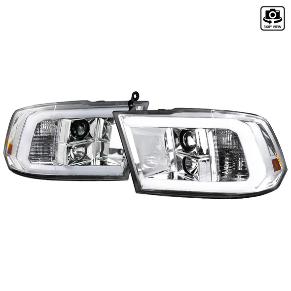 2009-2019 Dodge RAM 1500/2500/3500 Projector Headlights w/ LED Tube & H1 Bulbs (Chrome Housing/Clear Lens)