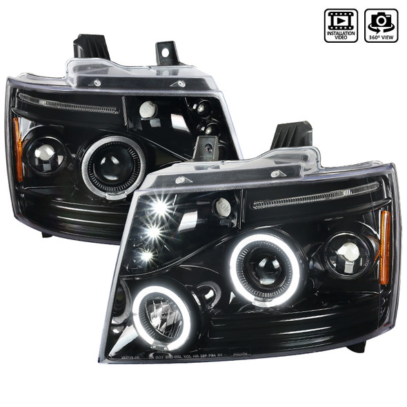 2007-2013 Chevrolet Avalanche/ 2007-2014 Tahoe Suburban Dual Halo Projector Headlights (Jet Black Housing/Clear Lens)