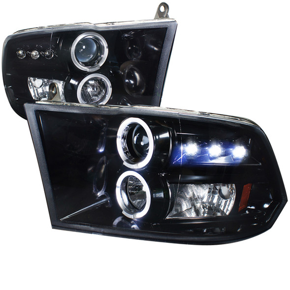 2009-2018 Dodge RAM 1500/ 2010-2018 RAM 2500 3500 Dual Halo Projector Headlights (Glossy Black Housing/Smoke Lens)