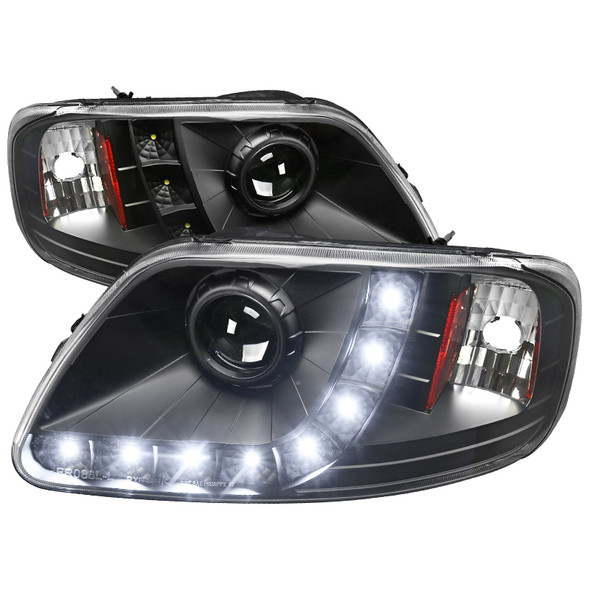 1997-2004 Ford F-150/ 1997-2002 Expedition Projector Headlights w/ SMD LED Light Strip (Matte Black Housing/Clear Lens)