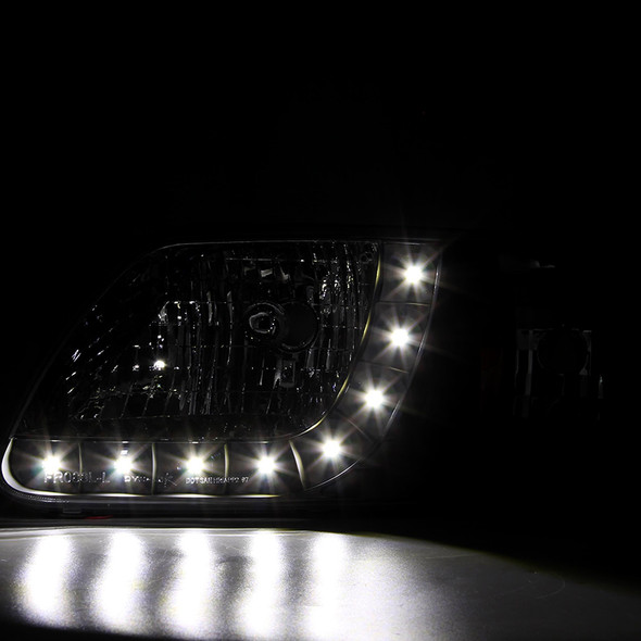 1997-2004 Ford F-150/Expedition Factory Style Crystal Headlights w/ SMD LED Light Strip (Matte Black Housing/Clear Lens)