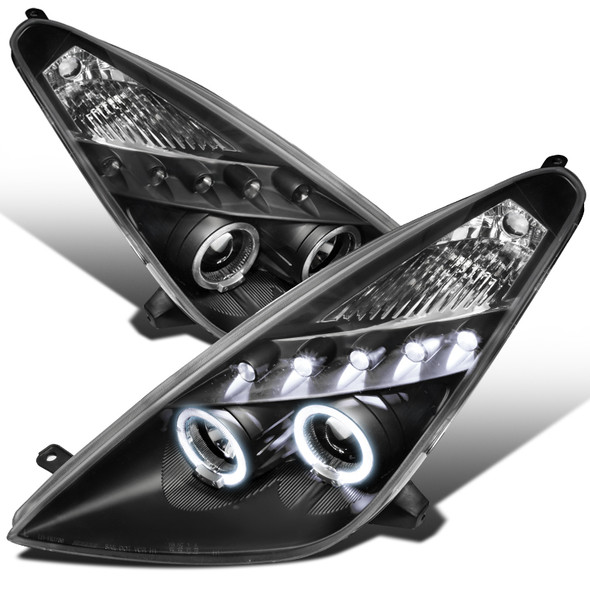 2000-2005 Toyota Celica Dual Halo Projector Headlights (Matte Black)