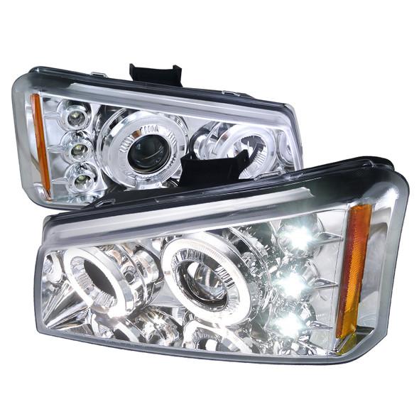 2002-2006 Chevrolet Avalanche/ 2003-2007 Silverado Dual Halo Projector Headlights (Chrome Housing/Clear Lens)