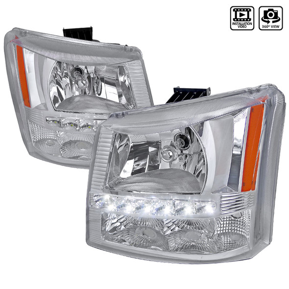 2002-2006 Chevrolet Avalanche/ 2003-2007 Silverado 1PC Factory Style Headlights w/ SMD LED Light Strip & Bumper Lights (Chrome Housing/Clear Lens)