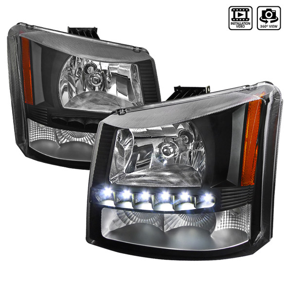 2002-2006 Chevrolet Avalanche/ 2003-2007 Silverado 1PC Factory Style Headlights w/ SMD LED Light Strip & Bumper Lights (Matte Black Housing/Clear Lens)