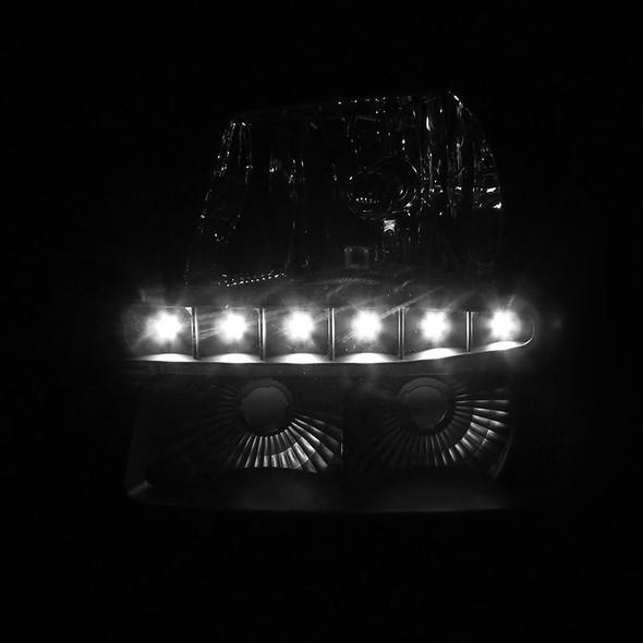 2002-2006 Chevrolet Avalanche/ 2003-2007 Silverado 1PC Factory Style Headlights w/ SMD LED Light Strip & Bumper Lights (Matte Black Housing/Clear Lens)
