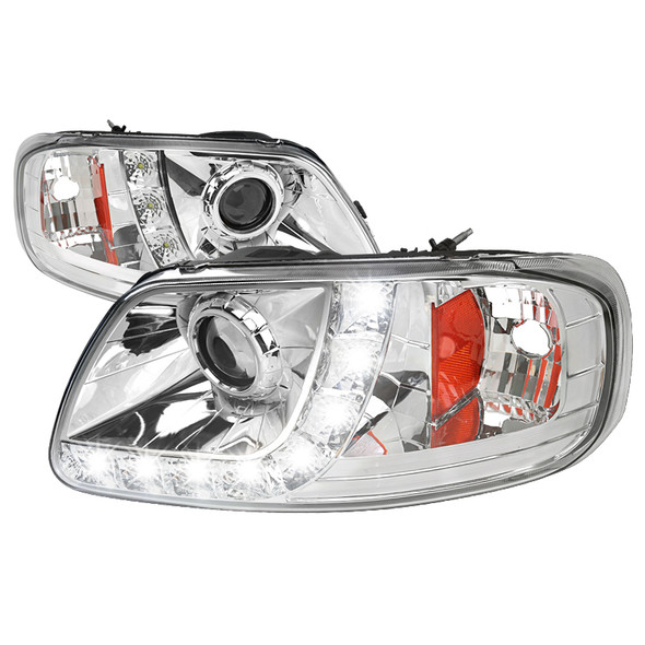 1997-2004 Ford F-150/ 1997-2002 Expedition Projector Headlights w/ SMD LED Light Strip (Chrome Housing/Clear Lens)