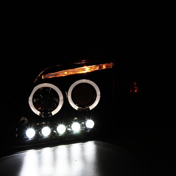 1997-2004 Ford F-150/Expedition Dual Halo Projector Headlights w/ LED DRL (Glossy Black Housing/Smoke Lens)