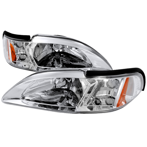 1994-1998 Ford Mustang 2-in-1 Headlights & Corner Signal Lamps (Chrome Housing/Clear Lens)