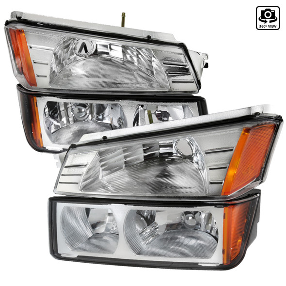 2002-2006 Chevrolet Avalanche 1500/2500 Factory Style Headlights w/ Bumper Signal Lights (Chrome Housing/Clear Lens)
