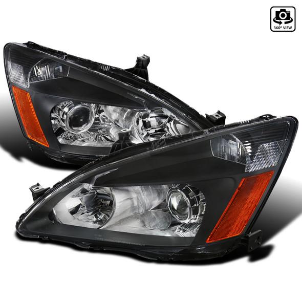 2003-2007 Honda Accord Dual Halo Projector Headlights w/ LED DRL (Matte Black Housing/Clear Lens)