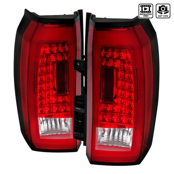 2015-2020 Chevrolet Tahoe/Suburban LS LT LTZ Premier LED Tail Lights (Chrome Housing/Red Lens)
