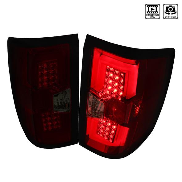 2014-2018 Chevrolet Silverado 1500/ 2015-2019 Silverado 2500HD 3500HD GMC Sierra 3500HD LED Tail Lights (Chrome Housing/Red Smoke Lens)