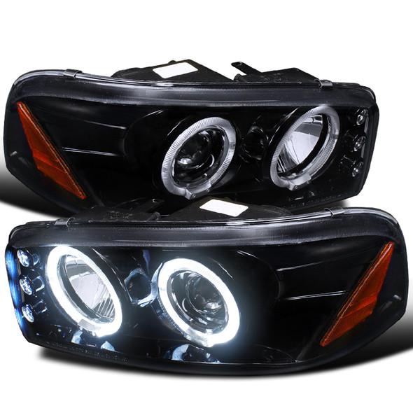 1999-2006 GMC Sierra/ 2000-2006 Yukon/Yukon XL Dual Halo Projector Headlights (Glossy Black Housing/Smoke Lens)