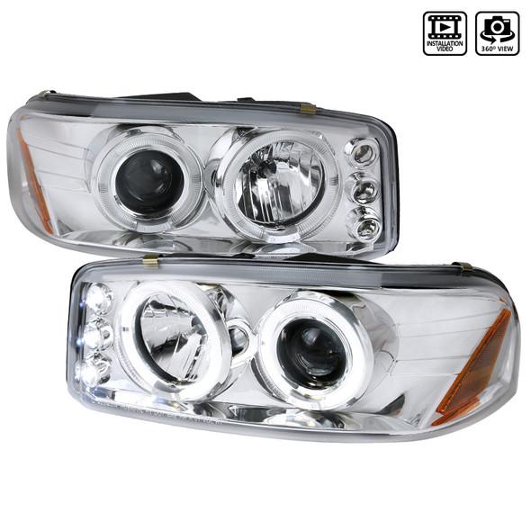 1999-2006 GMC Sierra/Yukon/Yukon XL Dual Halo Projector Headlights (Chrome Housing/Clear Lens)