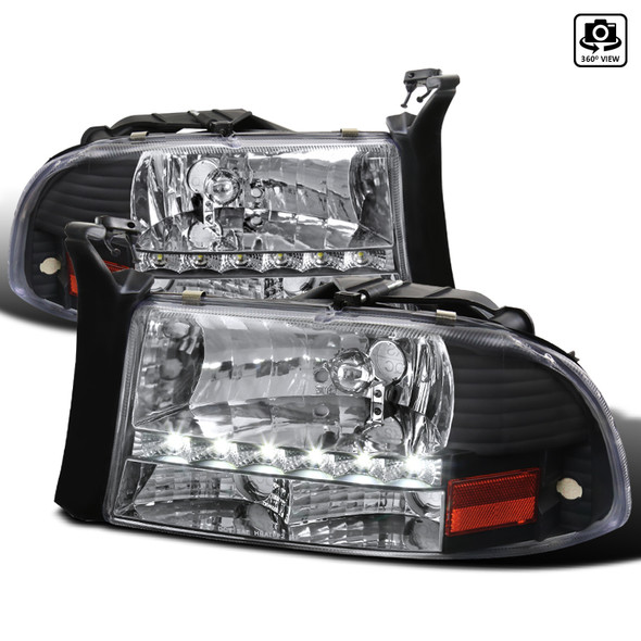 1997-2004 Dodge Dakota/ 1998-2003 Durango SMD LED Light Strip Factory Style Crystal Headlights (Matte Black Housing/Clear Lens)