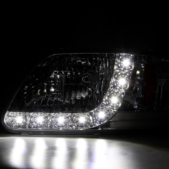 1997-2004 Ford F-150/Expedition Factory Style Crystal Headlights w/ SMD LED Light Strip (Chrome Housing/Clear Lens)
