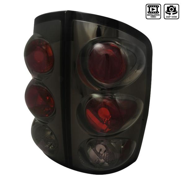 2002-2006 Dodge RAM Tail Lights (Chrome Housing/Smoke Lens)