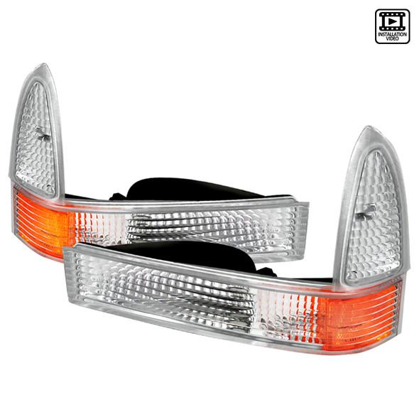 1999-2004 Ford F-250/F-350/F-450/F-550/Excursion Corner Lights (Chrome Housing/Clear Lens)