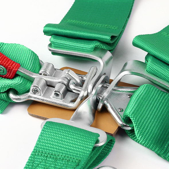 Universal 5-Point Nylon Straps Latch & Link Safety Belt Racing Harness (Green)
