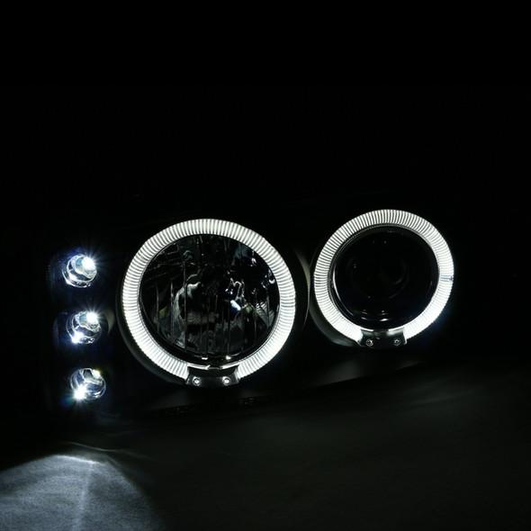 1999-2006 GMC Sierra/Yukon/Yukon XL Dual Halo Projector Headlights (Matte Black Housing/Clear Lens)