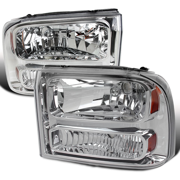 1999-2004 Ford Excursion/F-250/F-350/F-450/F-550 Crystal Headlights (Chrome Housing/Clear Lens)